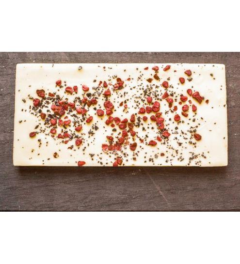 Svaneke chokoladeri plade hindbær-lakrids hvid 28%