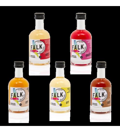 FALK Bornholm Mini syp og snaps smagssæt 5 stk. 5cl. flasker